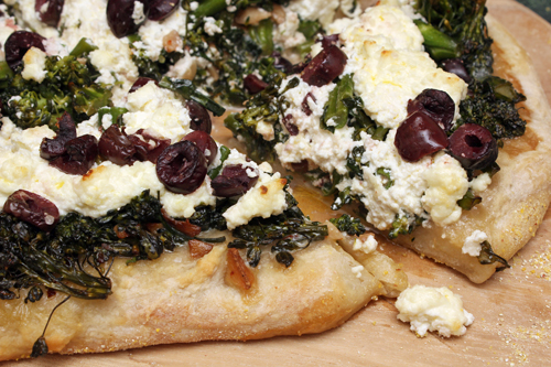 Pizza w/Broccolini, Ricotta, Olives