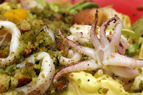 Squid Salad with Herbed Breadcrumbs