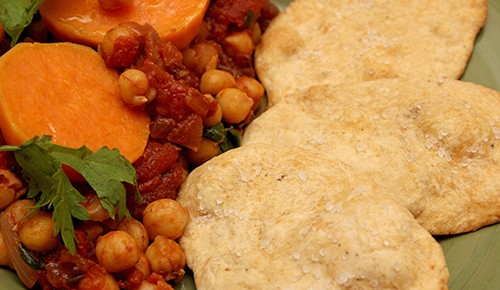 Chickpeas and Spinach with Honeyed Sweet Potato; Olive Oil Crackers
