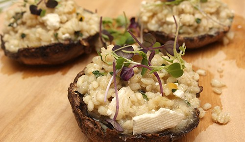Portobello Mushrooms with Pearl Barley and Preserved Lemon; Cucumber and Poppy Seed Salad