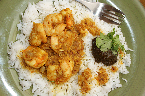 Shrimp Curry with Coconut, Mustard Seeds, Chiles