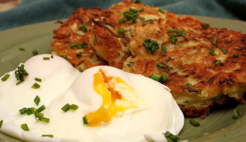 Cheddar-Zucchini Pancakes with Poached Eggs