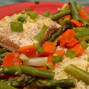 Miso Salmon with Asparagus and Carrots