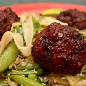 Hoisin-Turkey Meatballs with Glass Noodles