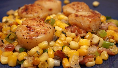 Seared Scallops with Sweet Corn and Bacon Saute