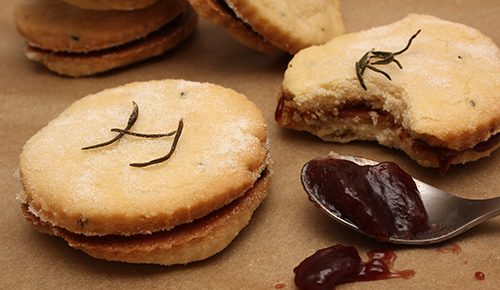 Rosemary Shortbread Sandwich Cookies with Concord Grape Jam