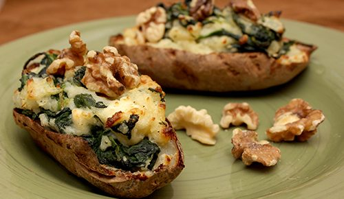Spinach and Feta-Stuffed Baked Potatoes