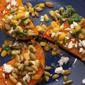 Butternut Squash with Corn Salsa, Feta, and Pumpkin Seeds
