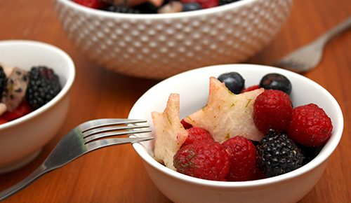 Red, White and Blue Fruit Salad with Honey-Lime Dressing