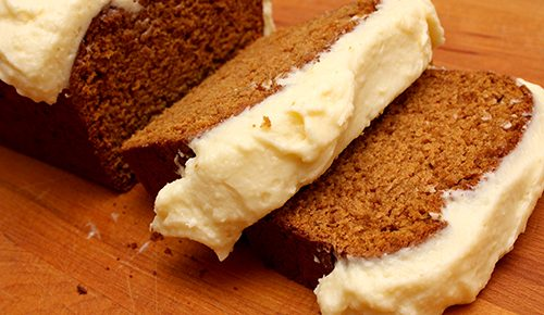 Spiced Sweet Potato Loaf with Cream Cheese Frosting #TheCakeSliceBakers