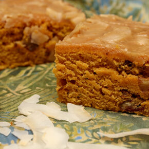 Pumpkin Spice Cake with Coconut Topping #TheCakeSliceBakers